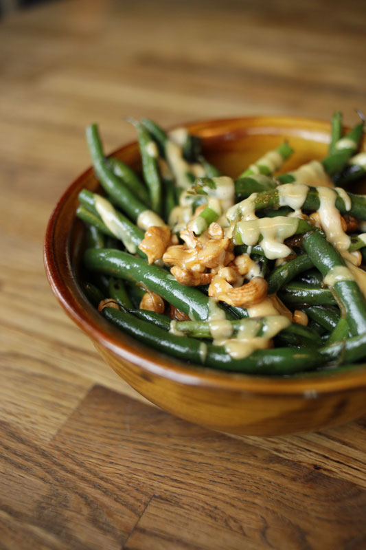 Green beans with cashews at Girl and Goat.