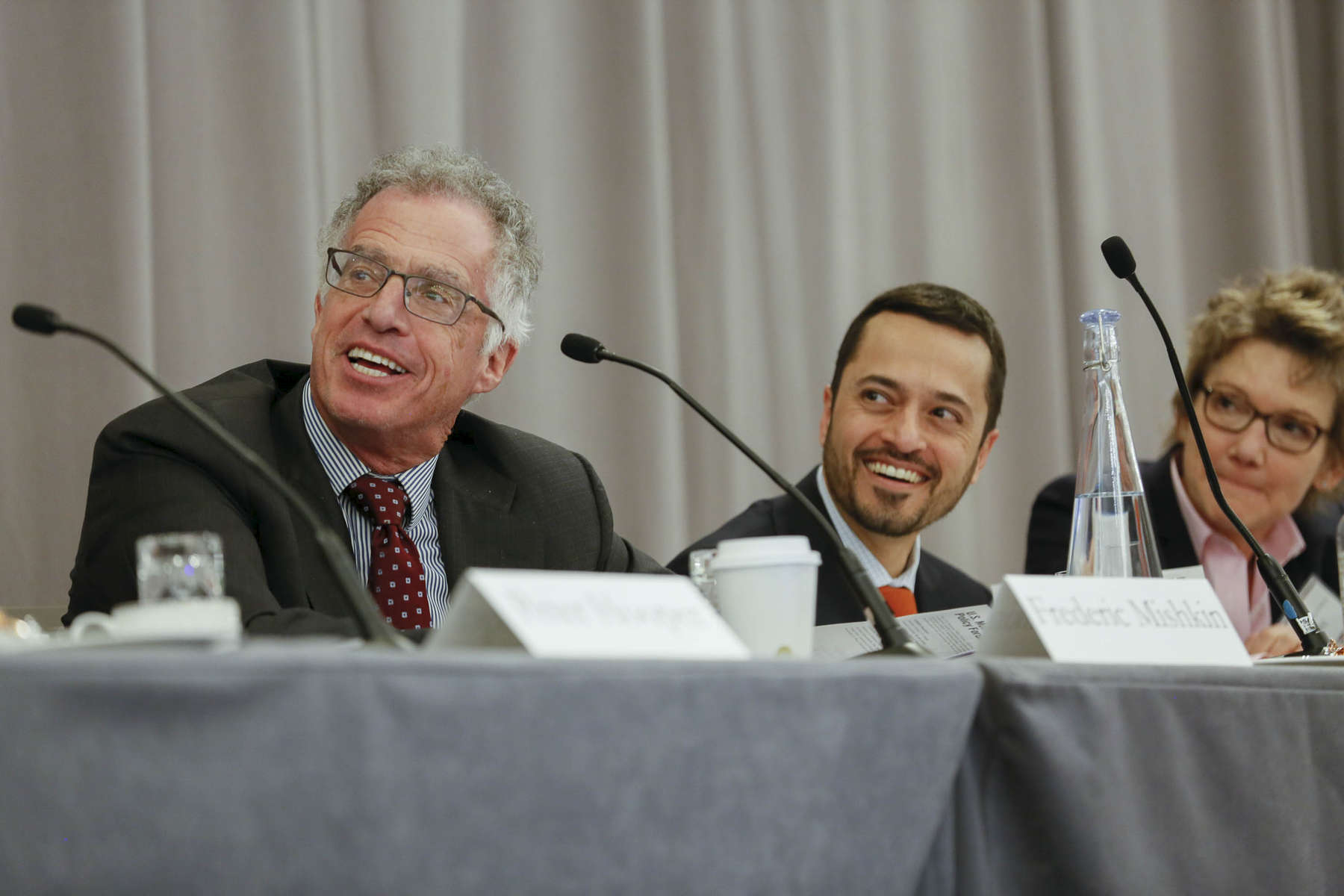 Left to Right: Frederic S. Mishkin, Columbia business School (co-chair), Amir Sufi, UChicago Booth Business School, and Mary Daly, Federal Reserve Bank of San Francisco.