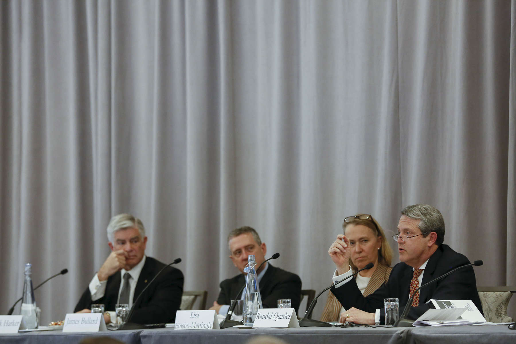 Left to Right: Patrick Harker, Federal Reserve Bank of Philadelphia, James Bullard, Federal Reserve Bank of St. Louis, Lisa Emsbo-Mattingly, Fidelity, and Randal Quarles, Board of Governors of the Federal Reserve