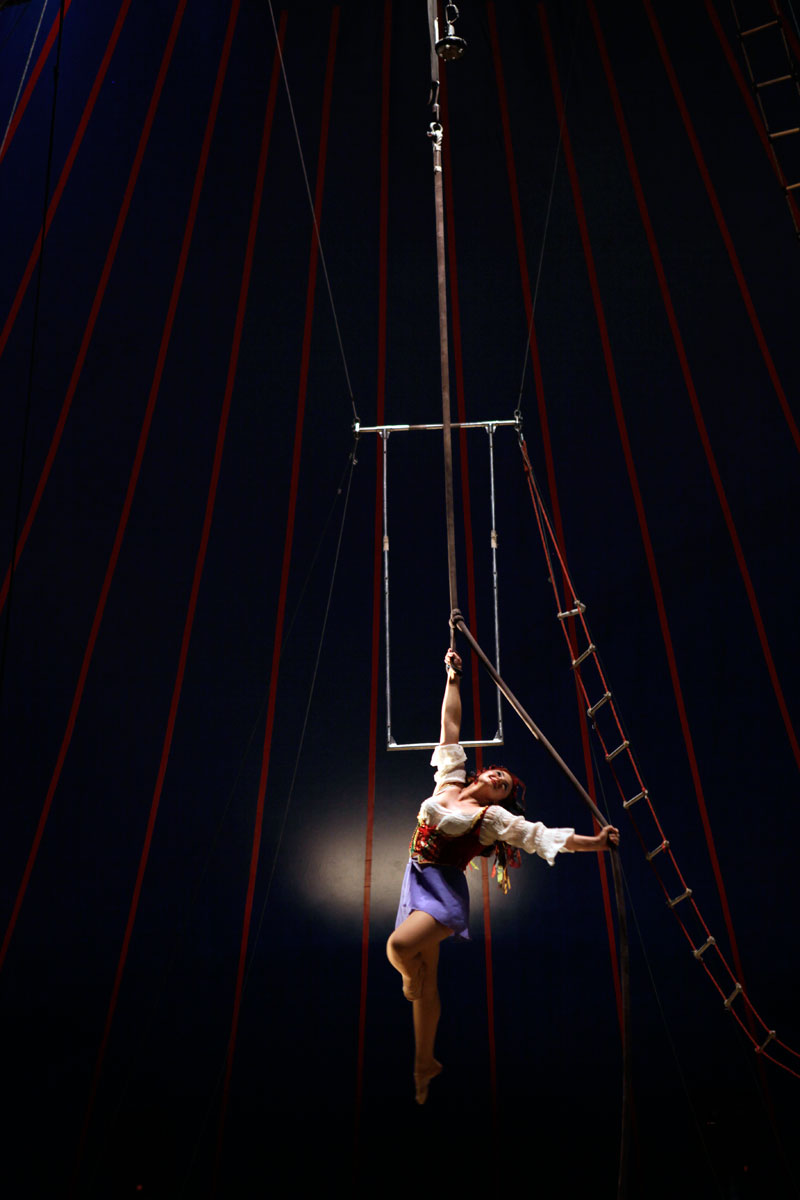Tosca Zoppe performs her aerial act in Addison, Illinois.