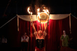 Gena juggling fire during her act in Oak Forest. The crowd gasped every time she performed.