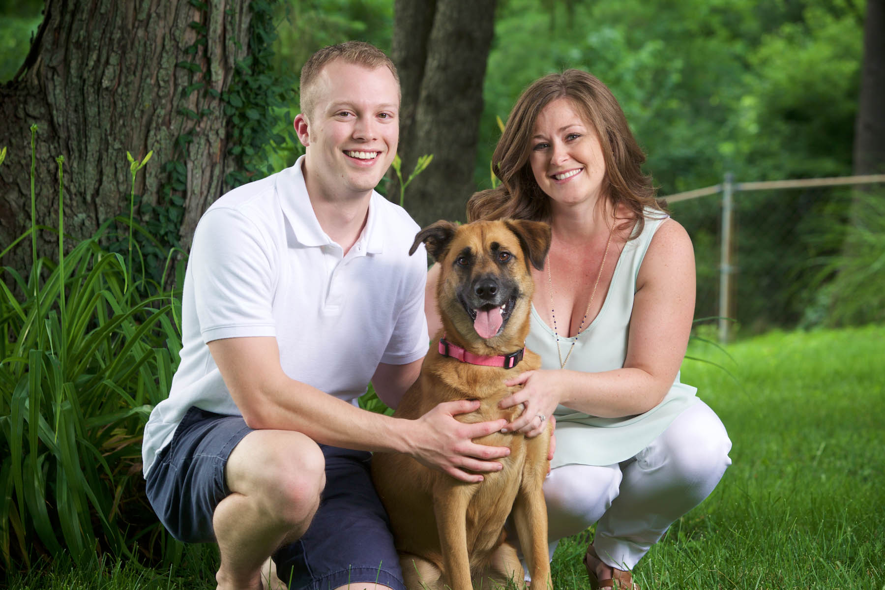 At home with their dog — St. Louis engagement session for Alissa & Ben. Wedding photography by Tiffany & Steve Warmowski.