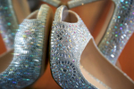 Alissa's sparkly shoes for her wedding day. Wedding pictures by Tiffany & Steve of Warmowski Photography.