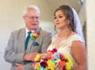 Father of the bride shares a moment with his daughter before the ceremony. Wedding pictures by Tiffany & Steve of Warmowski Photography.