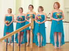 Bridesmaids wait for Alissa to come down the aisle. Wedding pictures by Tiffany & Steve of Warmowski Photography.