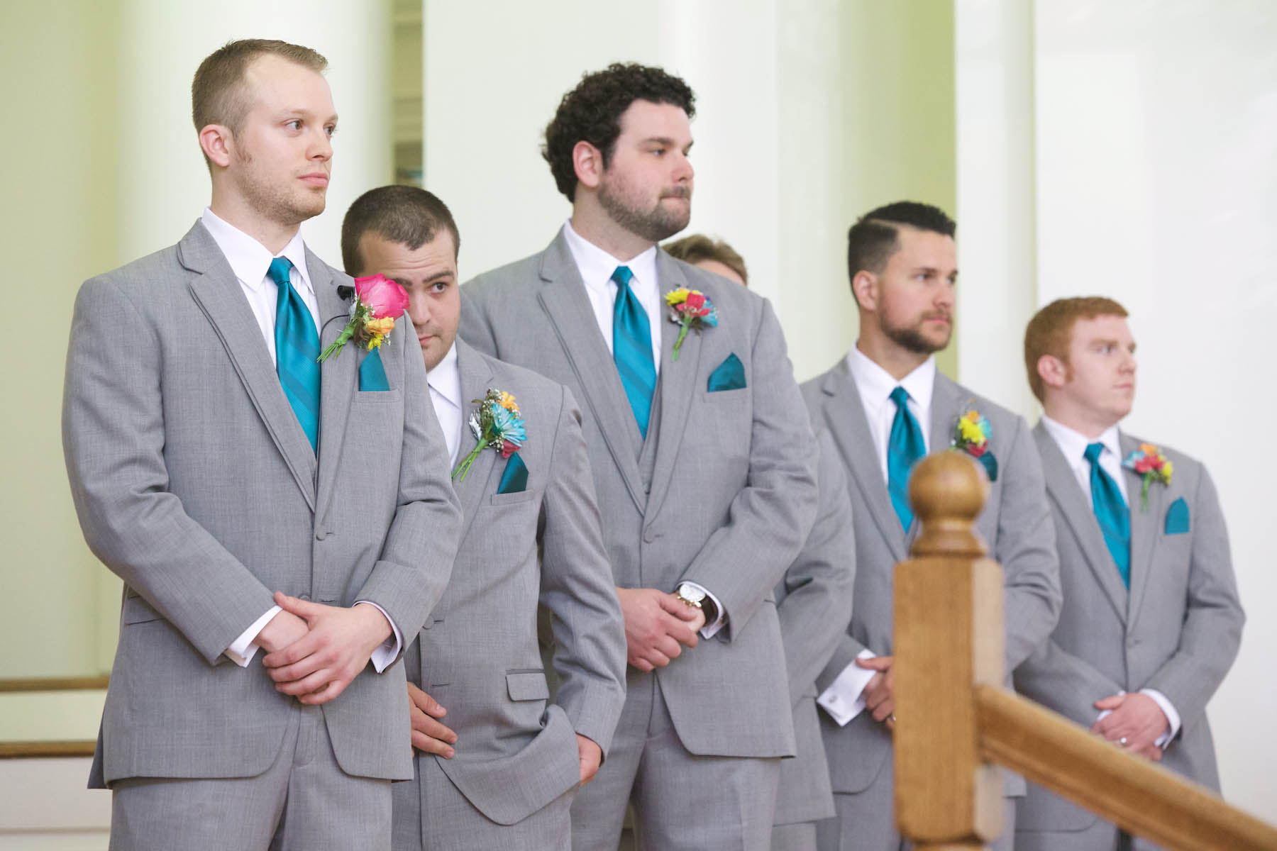 Ben and his groomsmen anticipate Alissa coming down the aisle. Wedding pictures by Tiffany & Steve of Warmowski Photography.
