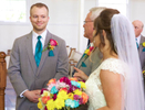 Alissa points to her man as her father presents the bride. Wedding pictures by Tiffany & Steve of Warmowski Photography.
