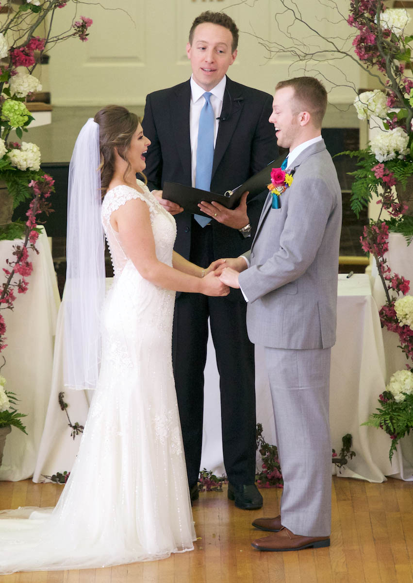 Officiant Tim Chipman says wedding blessing. Wedding pictures by Tiffany & Steve of Warmowski Photography.