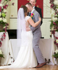 Alissa & Ben's first kiss. Wedding pictures by Tiffany & Steve of Warmowski Photography.