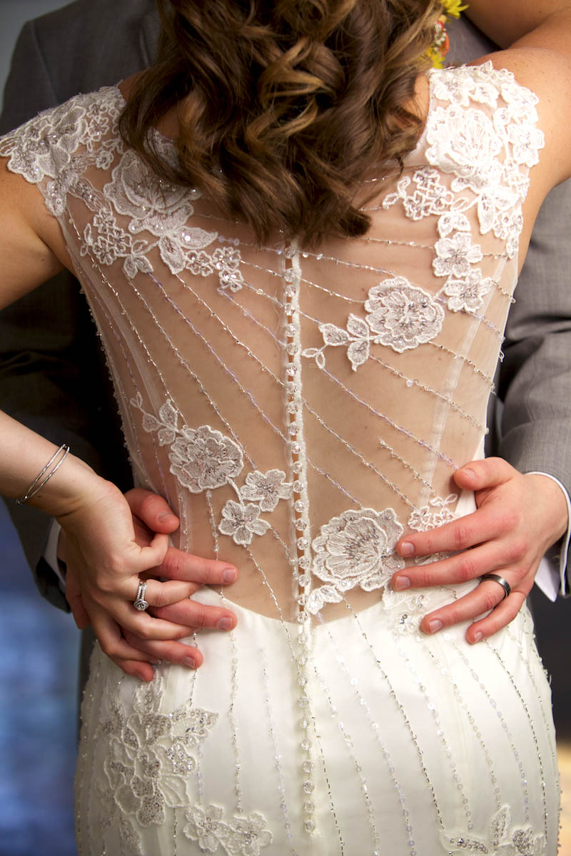 Capturing wedding dress details, Alissa & Ben at Annie Merner Chapel. Wedding pictures by Tiffany & Steve of Warmowski Photography.