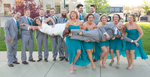 Wedding party tries a different pose, outdoor portaits in downtown Jacksonville. Wedding pictures by Tiffany & Steve of Warmowski Photography.