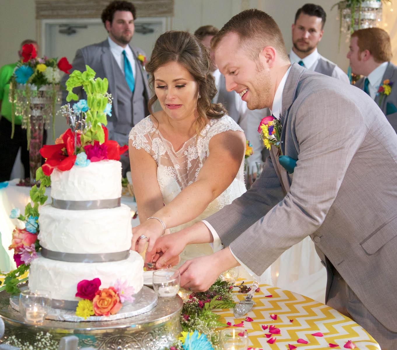 Alissa & Ben cut the cake, Icing on the Cake. Wedding pictures by Tiffany & Steve of Warmowski Photography.