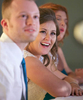 Ben and Alissa react to the best man's toast. Wedding pictures by Tiffany & Steve of Warmowski Photography.