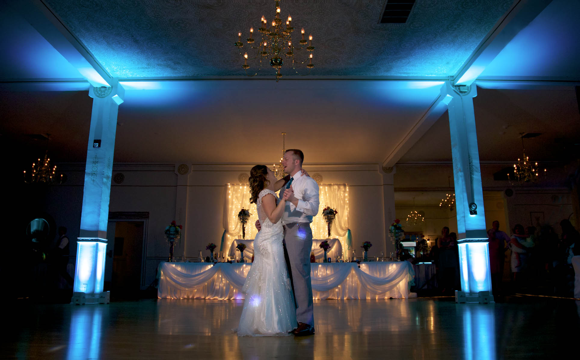 Alissa & Ben enjoy their first dance (uplighting by Music Source Professional Disc Jockey Service). Wedding pictures by Tiffany & Steve of Warmowski Photography.