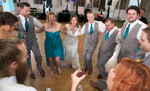 Alissa & Ben start the dancing with their wedding party (DJ is Music Source Professional Disc Jockey Service). Wedding pictures by Tiffany & Steve of Warmowski Photography.