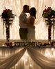 Portrait of Alissa & Ben shows off reception decoration details, by An Event Design. Wedding pictures by Tiffany & Steve of Warmowski Photography.