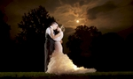Portrait by moonlight, Amanda & Nick's wedding at the Jacksonville Illinois Country Club. Wedding photography by Steve & Tiffany Warmowski.
