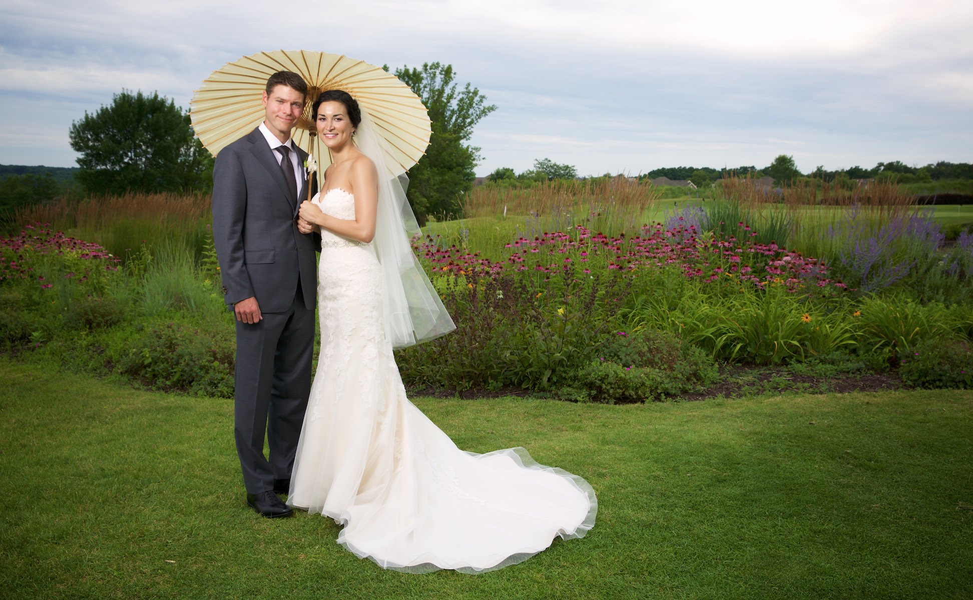 Outdoor portraits, Emi & Daniel's wedding at Geneva National Golf Club in Lake Geneva, Wisconsin. Wedding photography by Steve & Tiffany Warmowski.