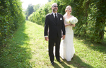 Jaclyn and her father wait to walk down the aisle, outdoor wedding at Allerton Park, Monticello. Wedding photography by Tiffany & Steve of Warmowski Photography.