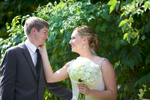 Jaclyn & Scott have a moment together after their outdoor wedding ceremony at Allerton Park, Monticello. Wedding photography by Tiffany & Steve of Warmowski Photography.