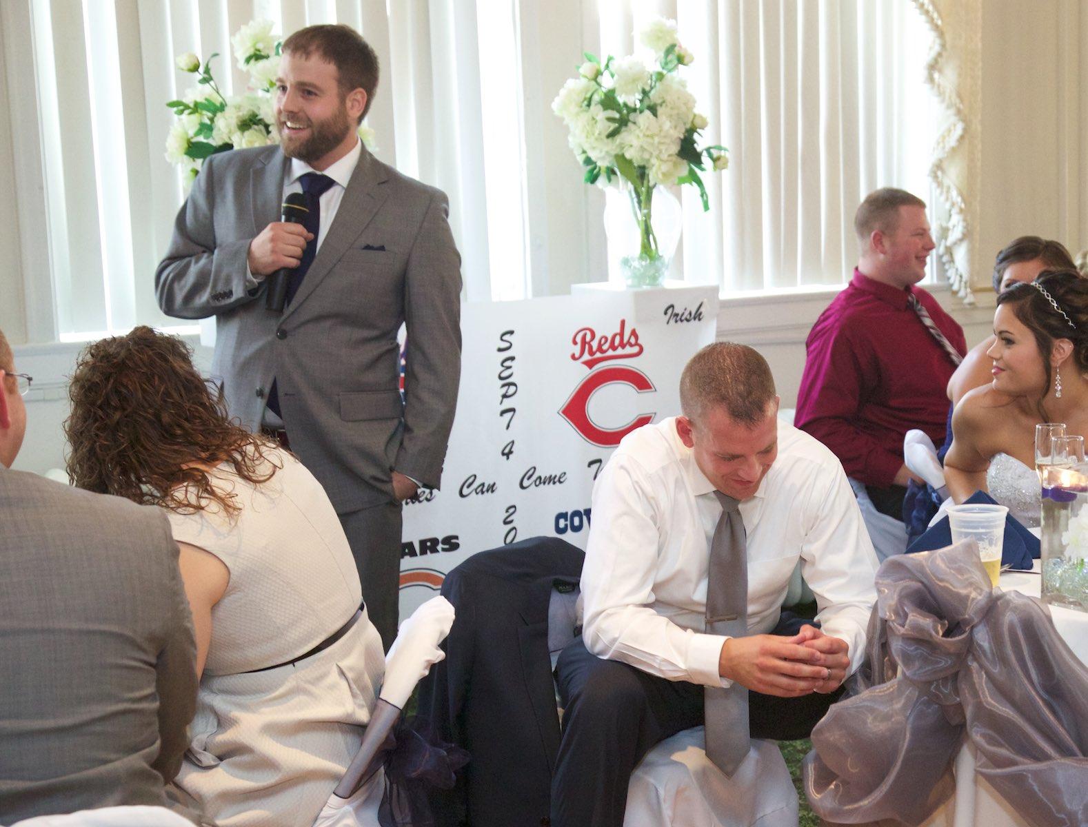 Jeremy's brother gives his best man speech, wedding reception at Hamilton's 110 North East, Jacksonville, Illinois. Wedding photography by Steve & Tiffany Warmowski.