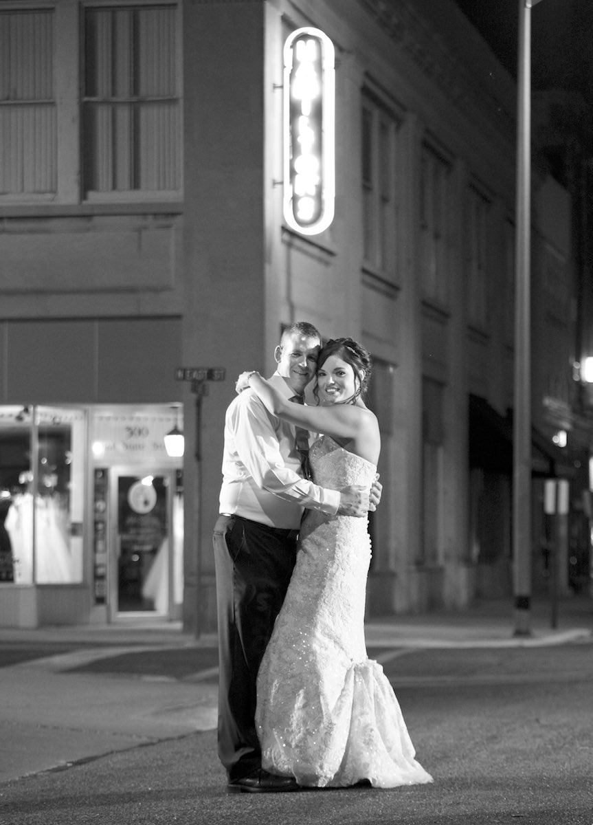Final portrait for Adria and Jeremy outside of wedding reception location Hamilton's Catering, Jacksonville, Illinois. Wedding photography by Steve & Tiffany Warmowski.