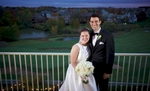 Outdoor portrait showing the view at dusk at Crystal Tree Country Club, Orland Park. Wedding photography by Steve & Tiffany Warmowski