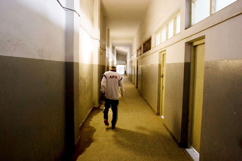 Saber Sharifi in the halls of the Kabul Stadium.