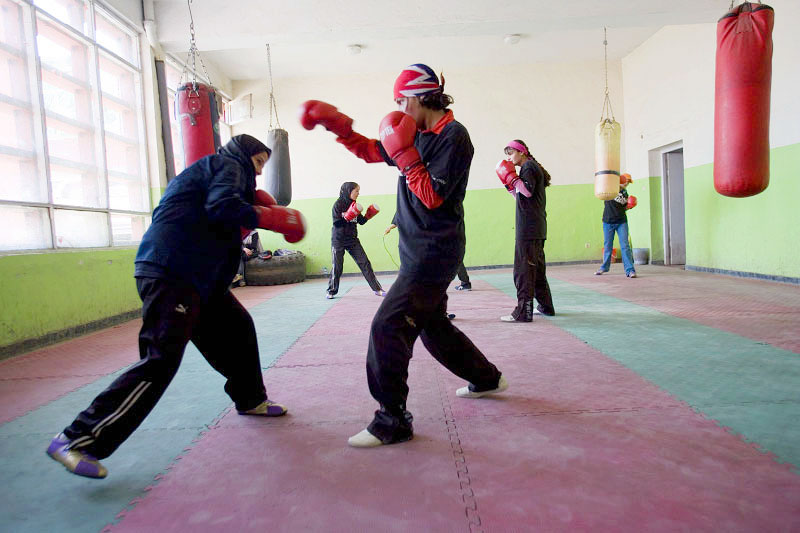 Sisters Shabnam and Fahima sparring.