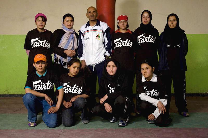 (Standing L-R)Sadaf 16, Saber Sharifi, Shabnam 16, Shagofa 16, Fahima 18, (Sitting L-R) Freshta 19, Lila 12, Maliha 15, Shagofa 17