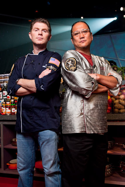 Iron Chef Bobby Flay and Iron Chef Masaharu Morimoto