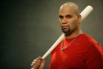 Albert (El Hombre) Pujols of the St. Louis Cardinals during his Milk Moustache campaign.