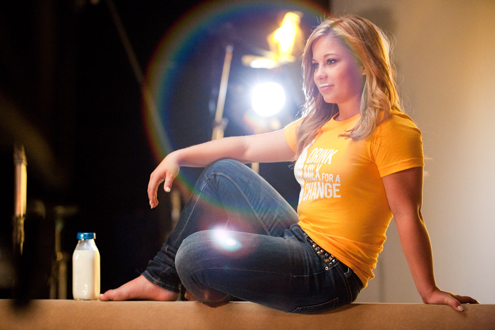 Gold Medalist Shawn Johnson during her Milk Mustache campaign