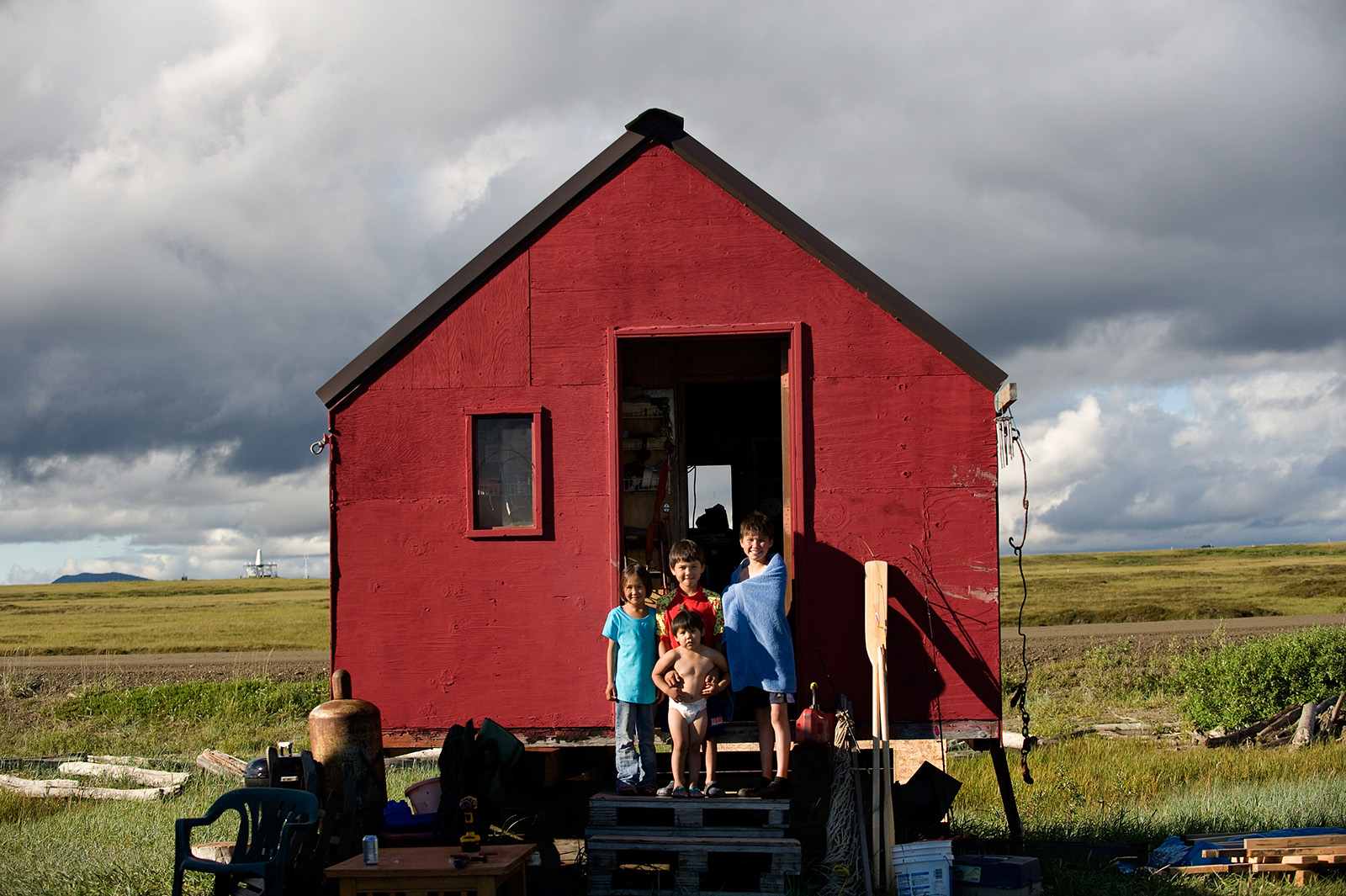 NOME, AK - JULY 14:  At fish camp a half hour\'s drive outside Nome, Alaska, children enjoy the long daylight hours on Wednesday, July 14, 2010.  (Photo by Nikki Kahn/The Washington Post)