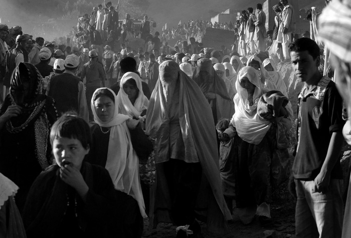 Women gathered at the invitation of religious leader Sayed Mansour Nadiri for a rally in support of  Afghanistan President Hamdi Karzai in Dar-e-Kayan, Baghlan Province.© Nikki Kahn/The Washington Post 2009ALL RIGHTS RESERVED