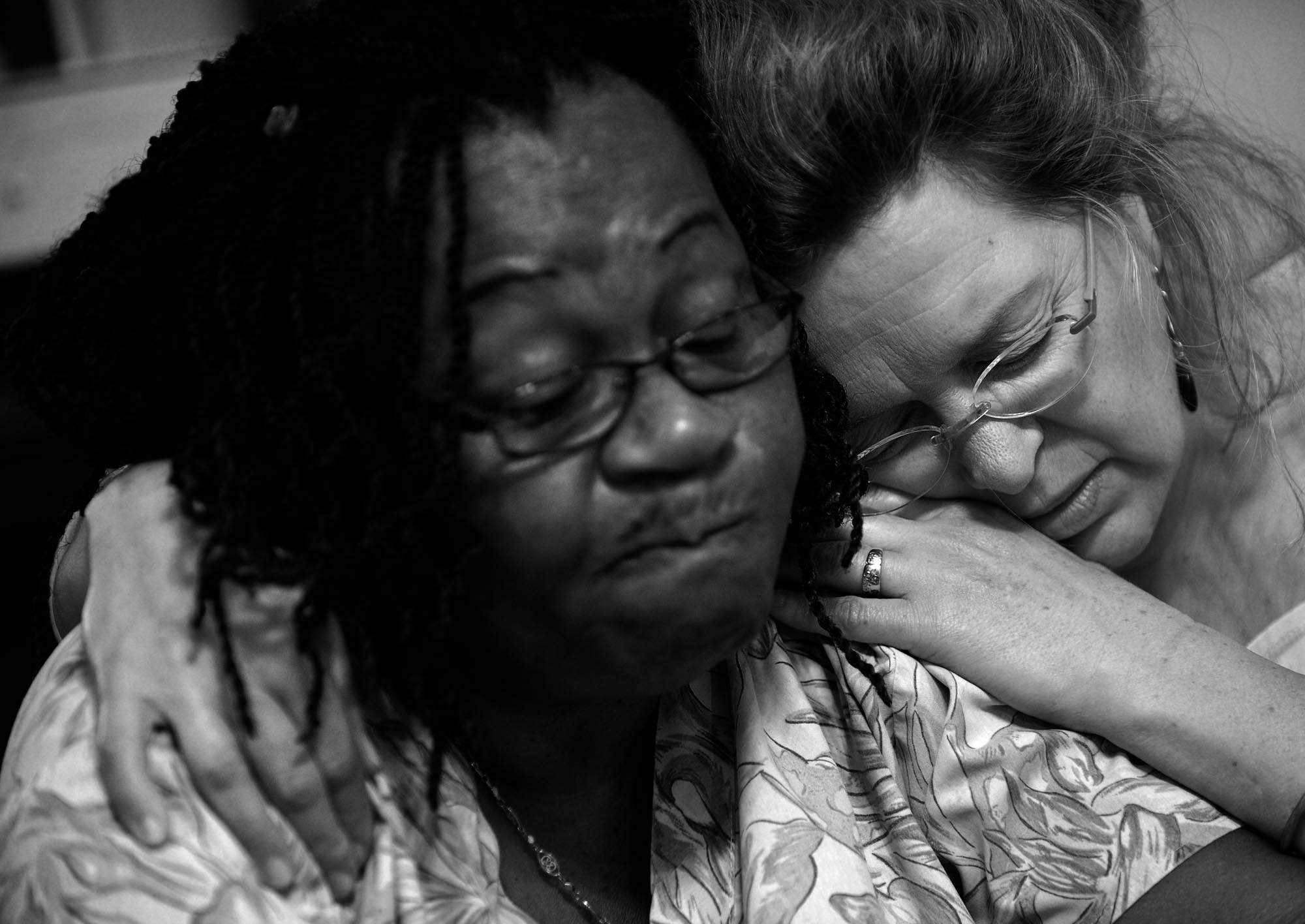 Blossom Williams, certified nursing assistant, left, and Patricia Wudel , executive director of Joseph's House, talk about Rob Wylie. Even as his own health declined, the two note, Wylie remained protective of the women of Joseph's House.