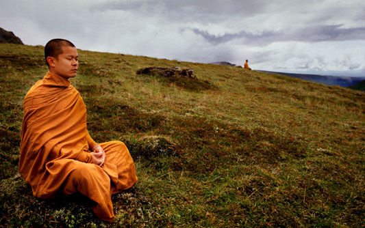 Monks meditate at Hatcher's Pass.© Nikki Kahn 1999 ALL RIGHTS RESERVED