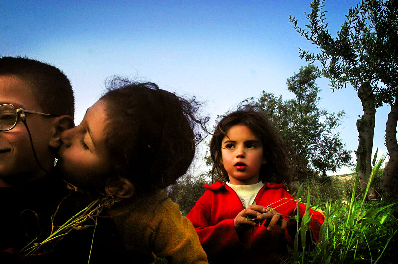 Kids play in an olive grove. ( photo by Andrea Bruce/The Washington Post)