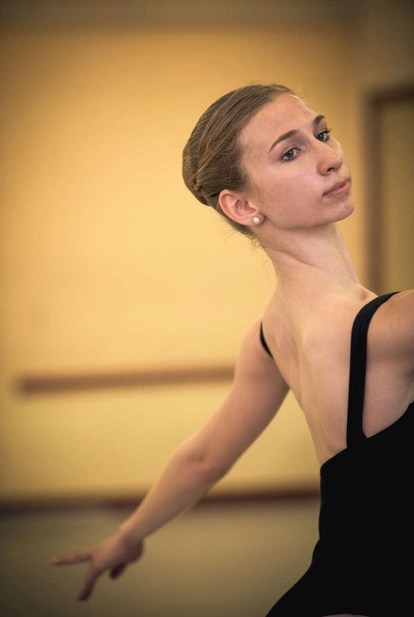 Catherine Conley practices her technique at the Cuban National School of Ballet in Havana, March 13, 2017. ©2018 Alex Garcia