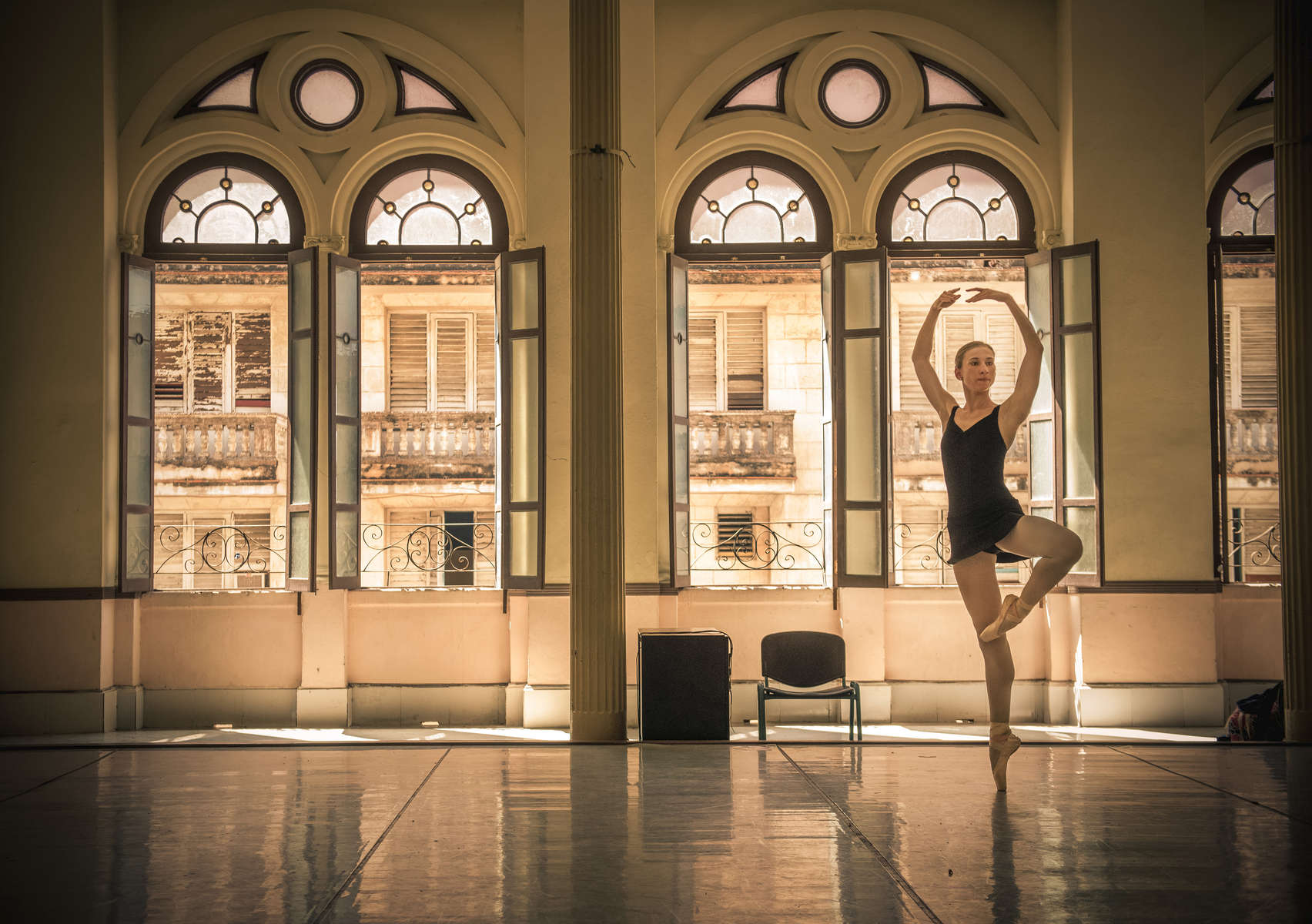Catherine Conley practices by herself at the Cuban National School of Ballet in Havana, March 13, 2017. ©2018 Alex Garcia