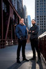 Brett Goldstein, left, and David Spielfogel, both managing partners at Ekistic Ventures, stand on a bridge near the headquarters at the Merchandise Mart in Chicago, Tuesday, February, 27, 2018. Photo by Alex Garcia