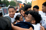 NBA stars (L-R) Jalen Rose and Paul George, with musician Jamie N Commons interact with fans during Jeep's {quote}Summer of Jeep{quote} event at Navy Pier on Thursday, July 28, 2016, in Chicago, IL.(Alex Garcia/AP Images for Jeep)