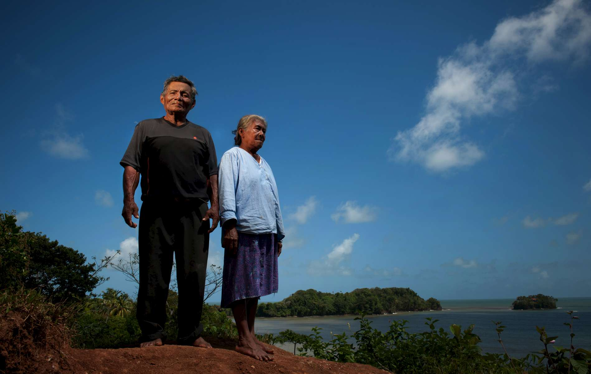Pedro McCrea and his wife Cristina, Rama village elders, stand on a point at Bangkukuk that was identified by surveyors with a concrete marker. The proposed canal project is confusing for many villagers, who wish to defend their way of life from the project.