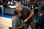 CHICAGO, IL - JULY 07, 2017:   Ramesh Haytasingh hugs Jon Stewart after an award ceremony at the United Center during the Department of Defense Warrior Games, July 7, 2017 in Chicago, Illinois. Stewart, who was a co-anchor for for the Warrior Games on ESPN, had presented a {quote}Heart of the Team{quote} award to the SOCOM team for Luke Yetter, who was gravely ill and could not attend the games. Stewart also signed a shirt for Yetter that Haytasingh planned to present to his teammate.  (Alex Garcia for ESPN)