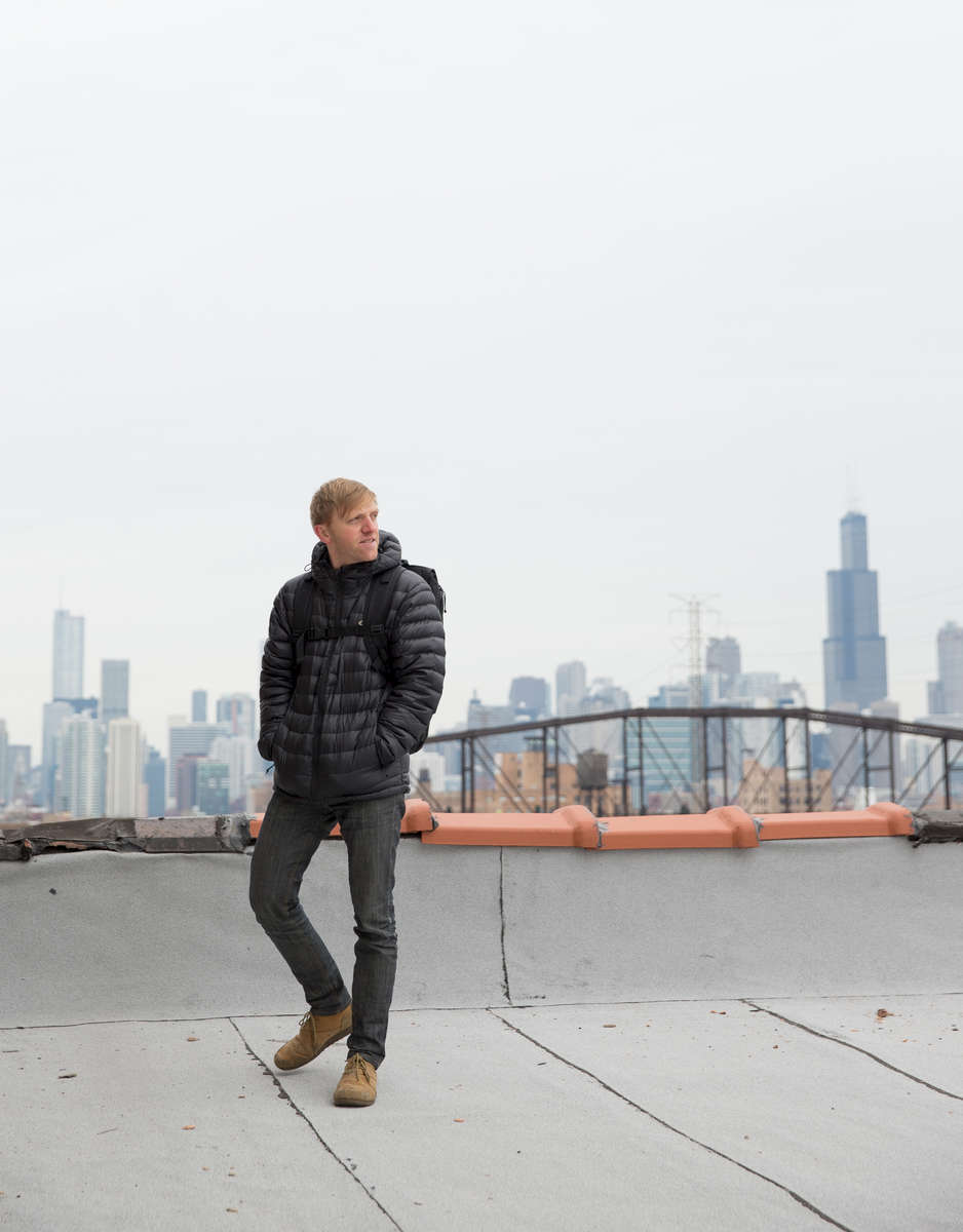 Portrait of Charles Adler, the co-founder of Kickstarter, photographed on the roof of a warehouse on the west side of Chicago, Monday, Friday, December 6, 2013.   (Alex Garcia/Chicago Tribune)  B583375229Z.1 ǃ∂.OUTSIDE TRIBUNE CO.- NO MAGS,  NO SALES, NO INTERNET, NO TV, CHICAGO OUT, NO DIGITAL MANIPULATION...