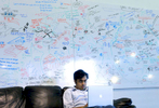 Google employee Pranay Gupta works on his laptop in front of a white board used for creative thinking. White boards such as these are scattered throughout Google headquarters in Mountain View. For a story about Google and the business of internet search.  ..OUTSIDE TRIBUNE CO.- NO MAGS,  NO SALES, NO INTERNET, NO TV.. Chicago Tribune Photo by Alex Garcia 00263830A Google