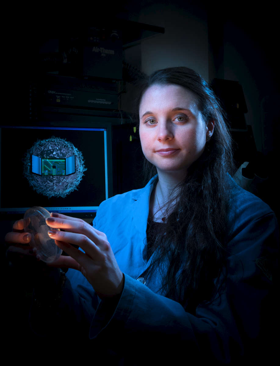 As a Northwestern University PhD candidate, Kelly A. Schwarz helped to develop a method to attack cancer by rewiring cells. Photographed in her lab at the Technological Institute on campus, Tuesday, March 21, 2017. Photo by Alex GarciaAgreement: All-University rights (Northwestern University reserves the right to use photographs in any media (including print and electronic) produced by any office or department of the University for marketing, public relations, or other purposes. Photographs may be used for multiple NU publications or purposes)