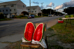 Watermelons, 2013Watermelons are set out on display to attract drivers to a roadside stand along Ocean View Avenue in August.