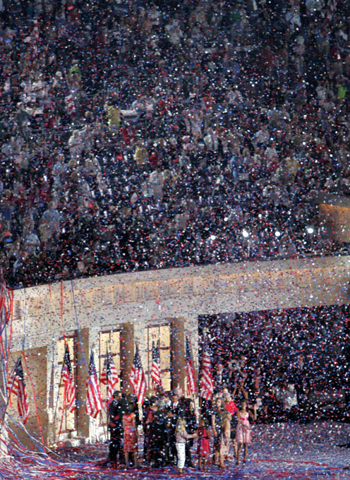 Democratic presidential nominee Barack Obama and vice presidential nominee Joe Biden and their families celebrate in a shower of confetti at Invesco Field on Thursday, August 28, 2008 in Denver, Colo.