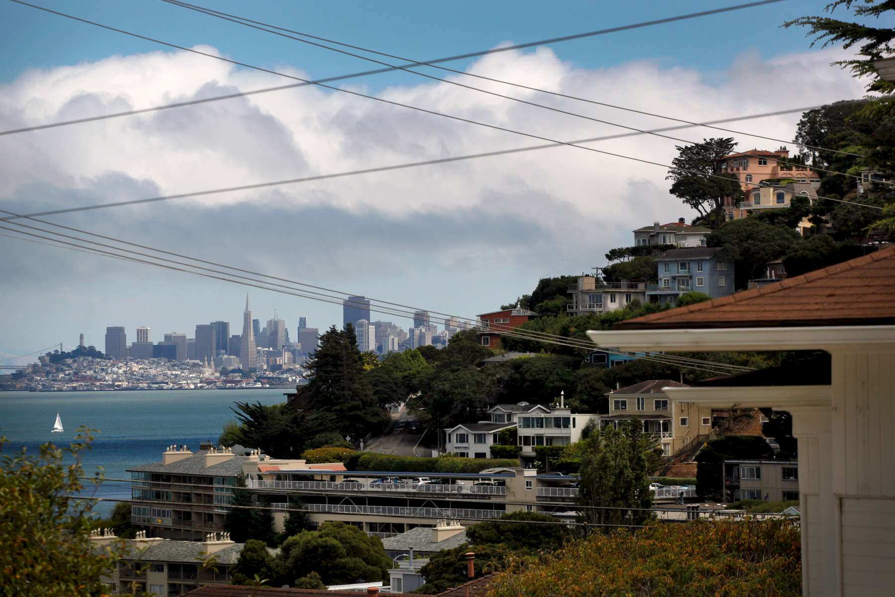 The San Francisco skyline sticks out over the hillside homes in Sausalito.